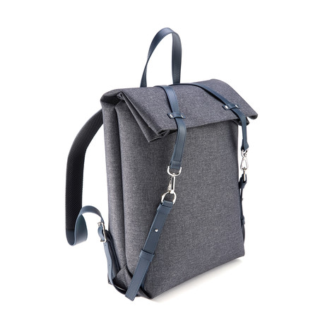 Mixed Media Expandable Backpack // Flannel & Leather