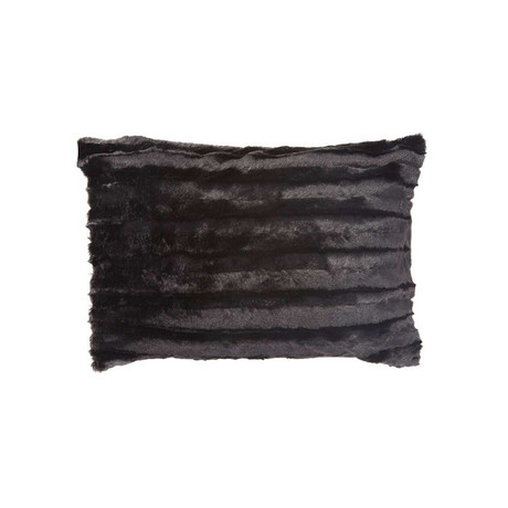 "Chinchilla Stripe Cuddle Fur Pillow // Black (14""L x 20""W)"