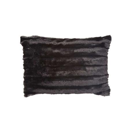 "Chinchilla Stripe Cuddle Fur Pillow // Black (14""L x 20""W)"