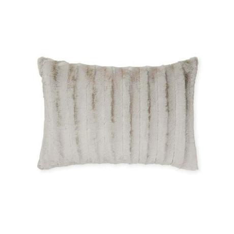 Chinchilla Stripe Cuddle Fur Pillow // Silver