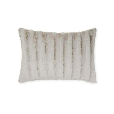 "Chinchilla Stripe Cuddle Fur Pillow // Silver (14""L x 20""W)"
