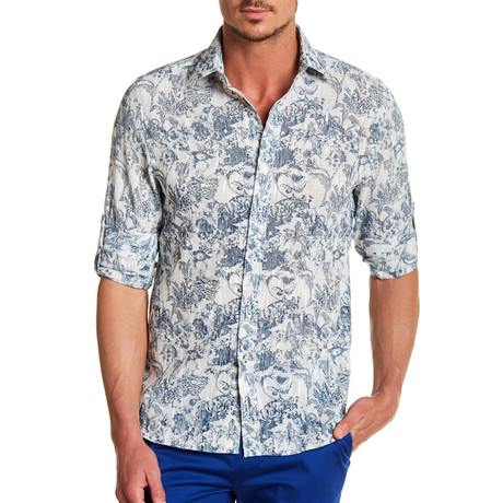 Ausi Printed Dress Shirt // Navy (S)