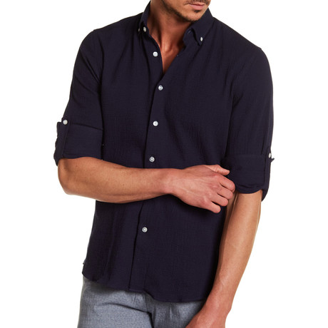 Leger Solid Dress Shirt // Navy