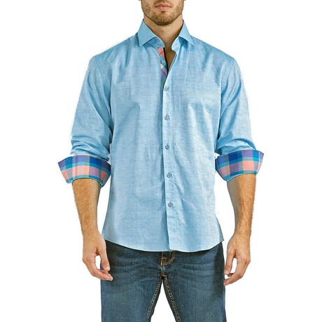 Finlay Long-Sleeve Button-Up Shirt // Turquoise