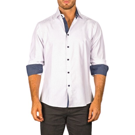 Harry Long-Sleeve Button-Up Shirt // White