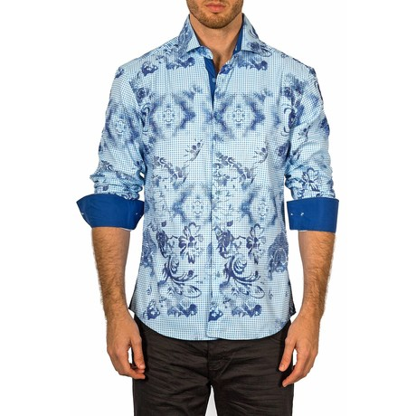 Rory Long-Sleeve Button-Up Shirt // Blue (2XL)