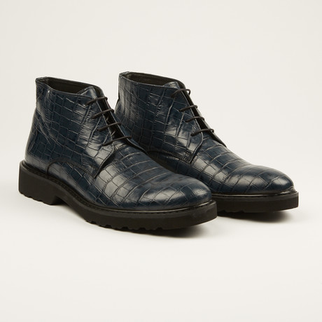Crocodile Print Chukka Boot // Navy (US: 7)