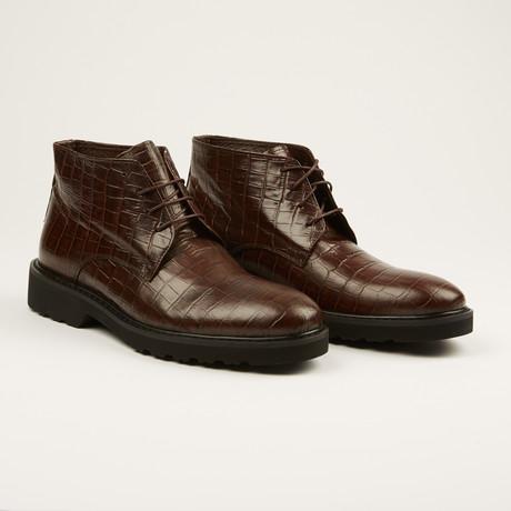 Crocodile Print Chukka Boot // Dark Brown