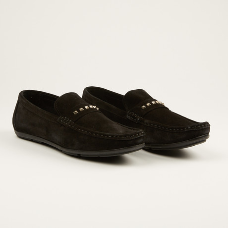 Studded Suede Loafer // Black (US: 7)