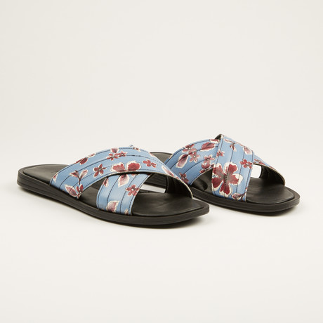Printed Leather Sandal // Blue (US: 7)