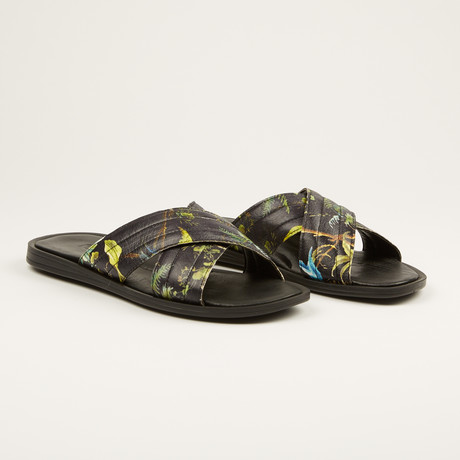 Printed Leather Sandal // Green (US: 7)