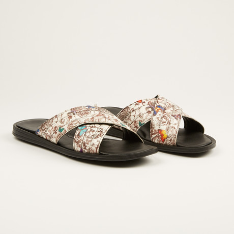 Printed Leather Sandal // White (US: 7)