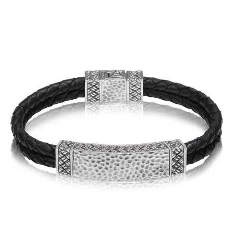 "Double Row Leather ID Bracelet // Black (Small // 7.5"")"