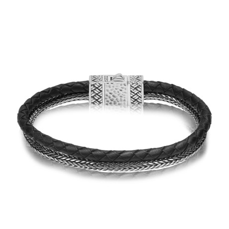 "Double Row Silver + Leather Bracelet // Black (Small // 7.5"")"