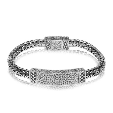 "Classic Woven Detail ID Bracelet // Silver (Small // 7.5"")"