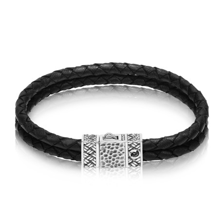 "Leather Duo Bracelet // Black (Small // 7.5"")"