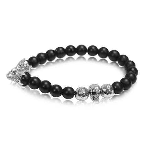 "Silver Matte Onyx Bead Bracelet // Black (Small // 7.5"")"