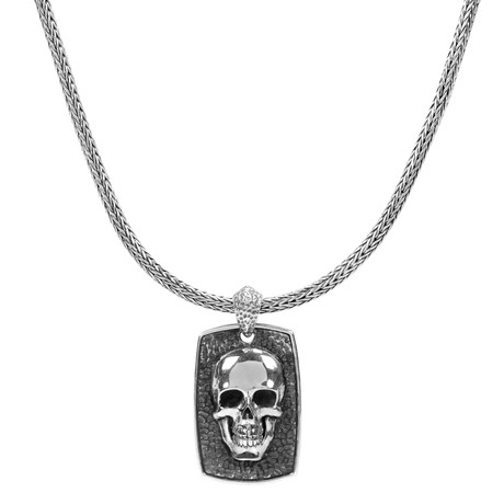 Skull Plate Necklace // Silver