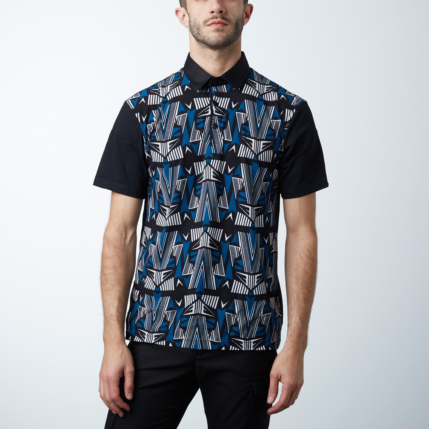 Classic Polo Shirt Arrow Point Pattern Teal Black White L