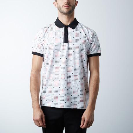 Classic Polo Shirt // Spades Pattern // White (L)