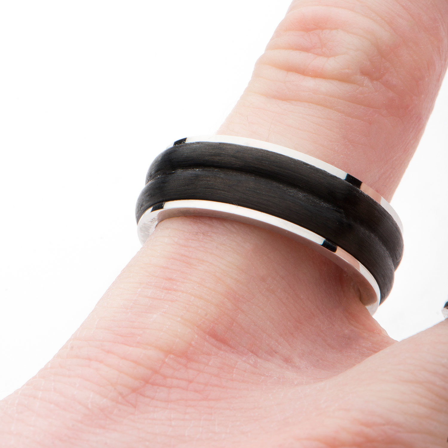 Center Solid Carbon Fiber Double Line Ring (Size: 10) - Inox Rings ...