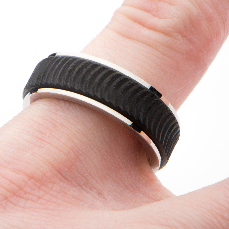 Center Solid Carbon Fiber Ridged Ring (Size: 12) - Inox Rings ...