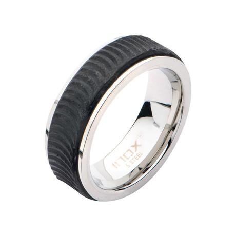 Center Solid Carbon Fiber Ridged Ring // Black (Size: 9)