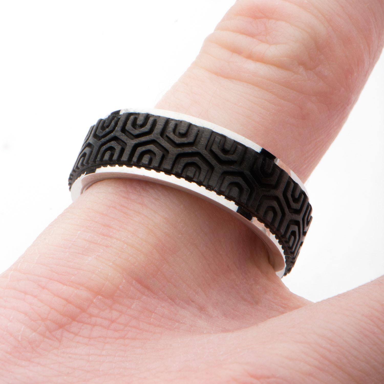 Center Solid Carbon Fiber Patterned Design Ring (Size: 9) - Inox ...