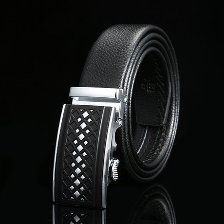 Picket Adjustable Buckle Leather Belt // Black + Silver
