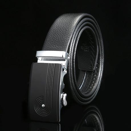 Trail Adjustable Buckle Leather Belt // Black + Silver