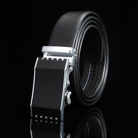 Cage Adjustable Buckle Leather Belt // Black + Silver