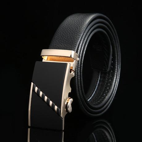Overlap Adjustable Buckle Leather Belt // Black + Gold
