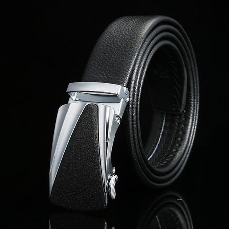Austin Adjustable Buckle Leather Belt // Black + Silver