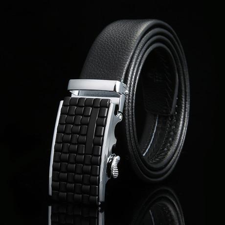 Weave Adjustable Buckle Leather Belt // Black + Silver