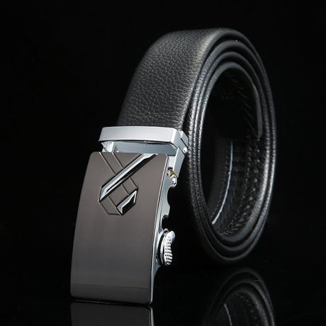 Ribbon Adjustable Buckle Leather Belt // Black + Silver