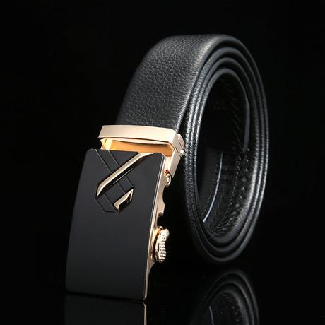 Ribbon Adjustable Buckle Leather Belt // Black + Gold