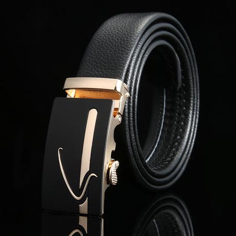 Swirl Adjustable Buckle Leather Belt // Black + Gold