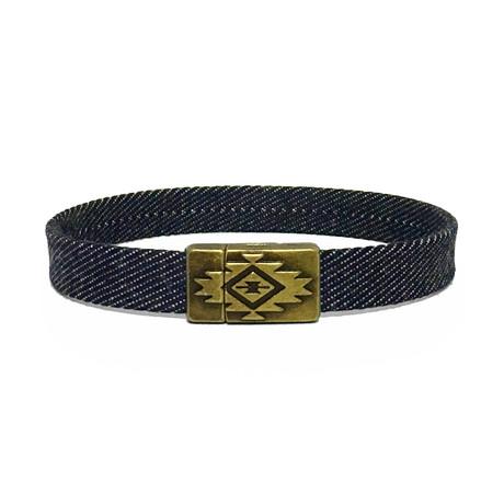 Denim + Brass Bracelet // Blue