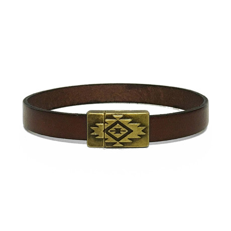 Leather + Brass Bracelet // Brown