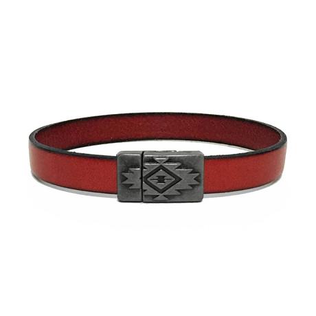 Leather + Gunmetal Bracelet // Red