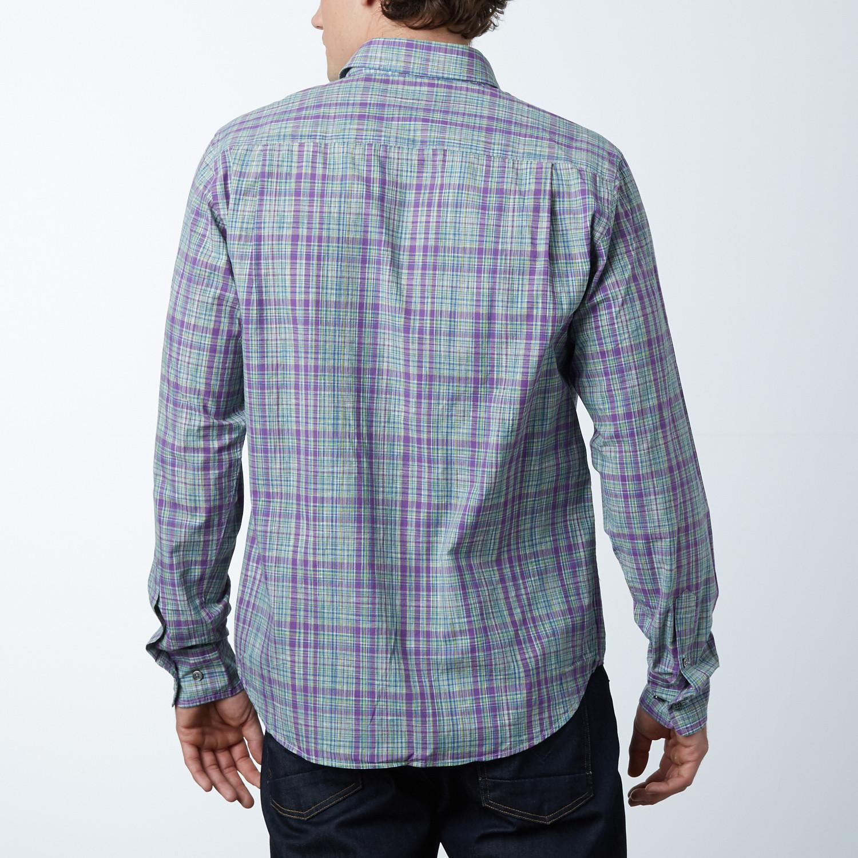 window plaid button up shirt purple check s