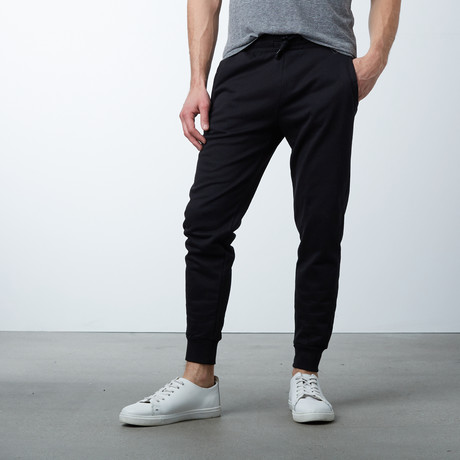 Slim-Fit French Terry Joggers // Black (S)