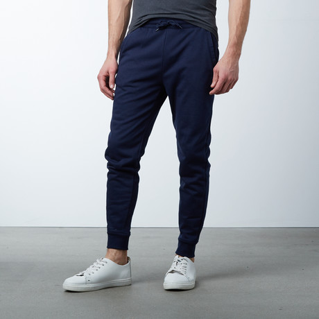 Slim-Fit French Terry Joggers // Navy (S)