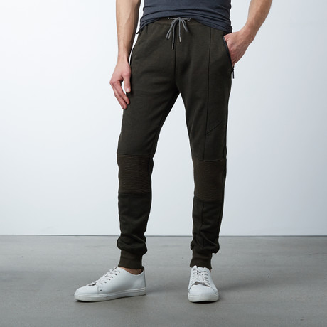 Marled Tech Fleece Jogger Sweatpants // Heather Olive