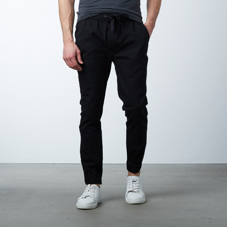 Cotton Stretch Twill Joggers // Black (S)