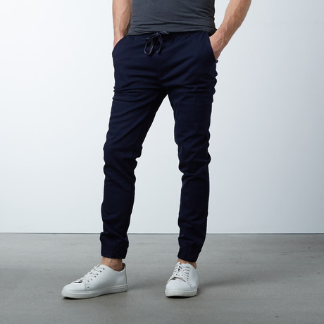 Cotton Stretch Twill Joggers // Navy (S)
