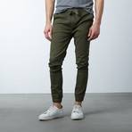 Cotton Stretch Twill Joggers // Olive (S)