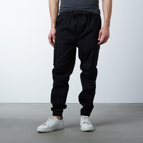 Cotton Blend Twill Cargo Joggers // Black (S)