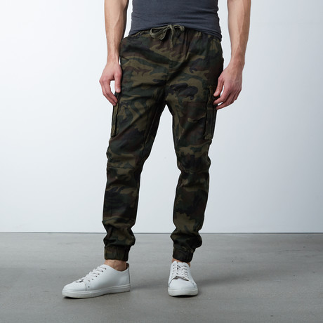 Cotton Blend Twill Cargo Joggers // Camo (S)