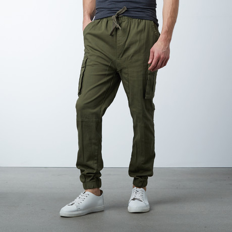 Cotton Blend Twill Cargo Joggers // Olive